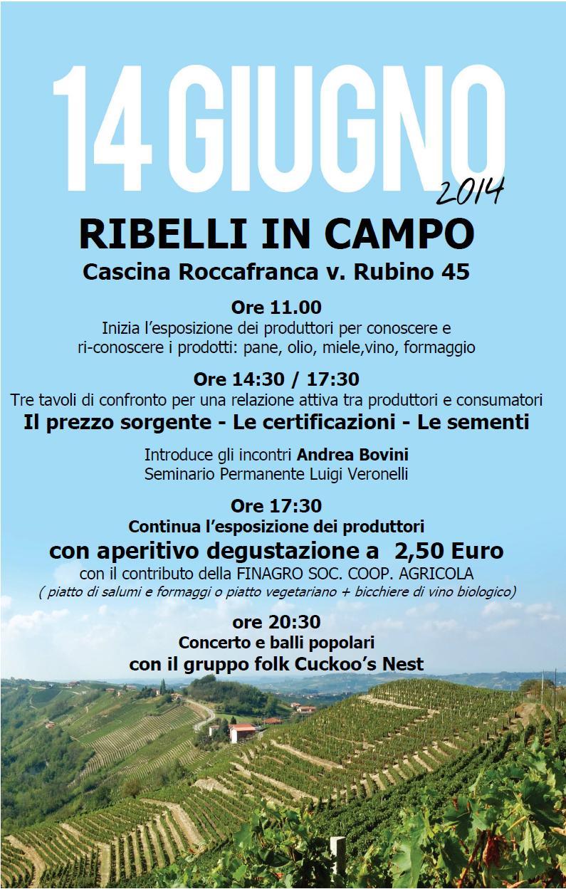 """Sabato 14 giugno """"Ribelli in campo"""" in Cascina Roccafranca"""
