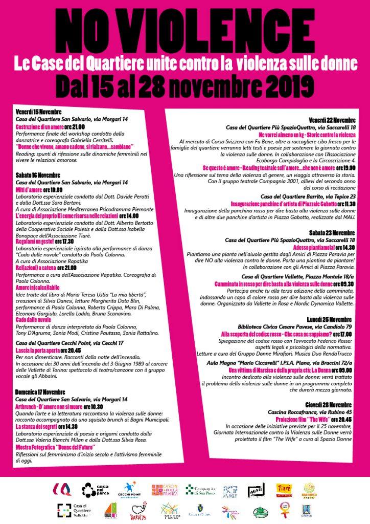 Locandina #NoViolence - Le Case del Quartiere unite contro la violenza sulle donne